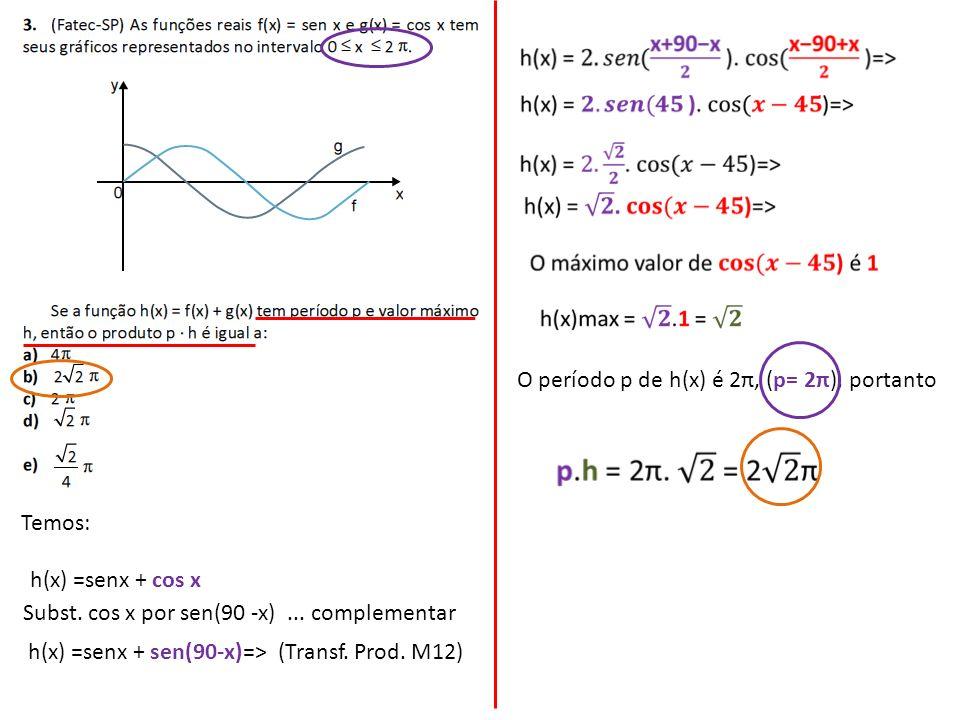 Temos: h(x) =senx + cos x Subst. cos x por sen(90 -x)... complementar h(x) =senx + sen(90-x)=>(Transf. Prod. M12) O período p de h(x) é 2π, (p= 2π), p