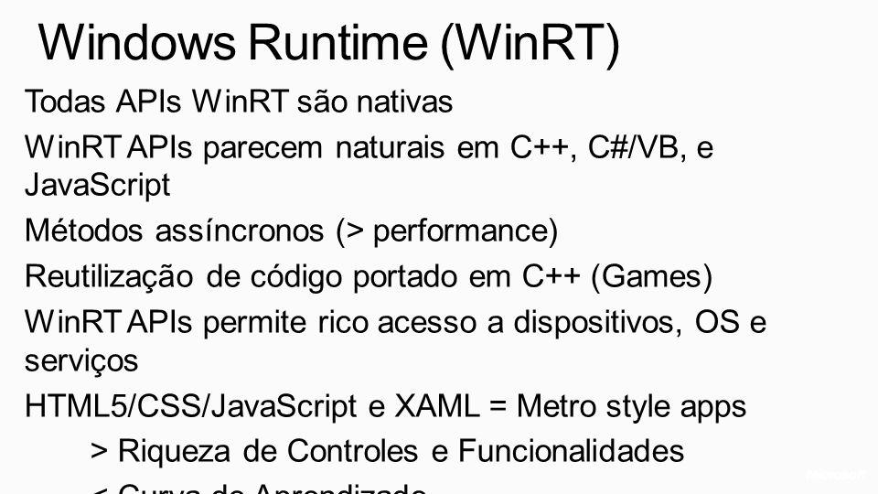 Windows Runtime (WinRT) Todas APIs WinRT são nativas WinRT APIs parecem naturais em C++, C#/VB, e JavaScript Métodos assíncronos (> performance) Reuti