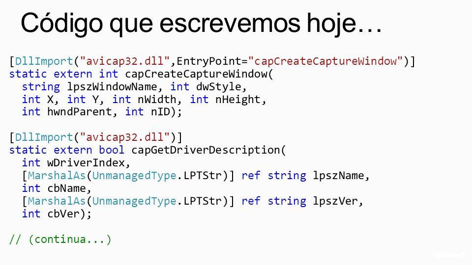 Código que escrevemos hoje…