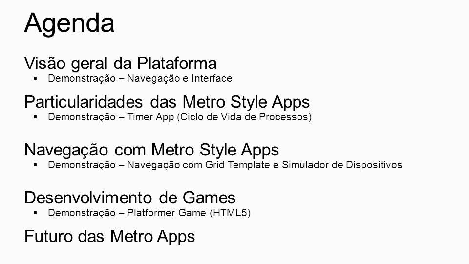 Agenda Visão geral da Plataforma Demonstração – Navegação e Interface Particularidades das Metro Style Apps Demonstração – Timer App (Ciclo de Vida de