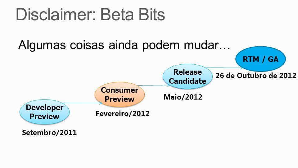 Algumas coisas ainda podem mudar… Developer Preview Developer Preview Consumer Preview Consumer Preview Release Candidate Release Candidate Setembro/2