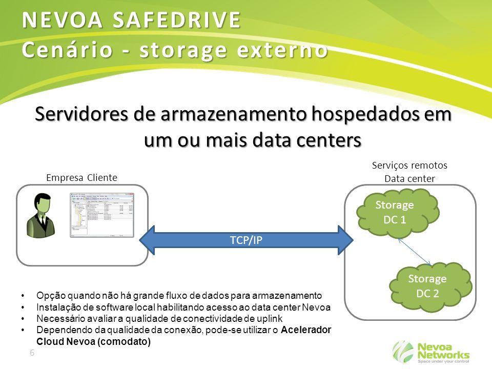 6 Servidores de armazenamento hospedados em um ou mais data centers Storage DC 1 Serviços remotos Data center Empresa Cliente TCP/IP NEVOA SAFEDRIVE C