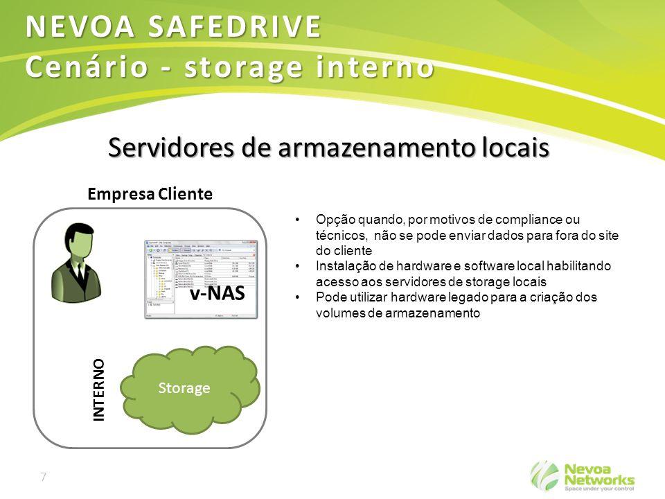 7 Storage Empresa Cliente INTERNO v-NAS NEVOA SAFEDRIVE Cenário - storage interno Servidores de armazenamento locais Opção quando, por motivos de comp