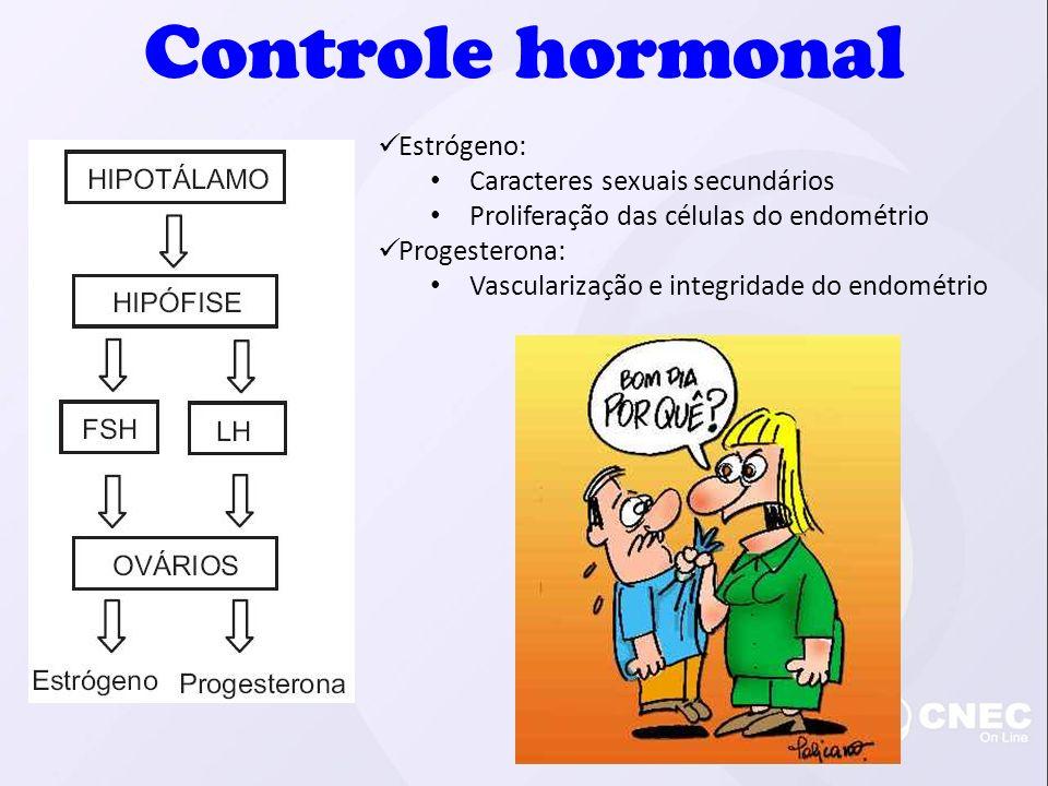 Estrógeno: Caracteres sexuais secundários Proliferação das células do endométrio Progesterona: Vascularização e integridade do endométrio Controle hormonal