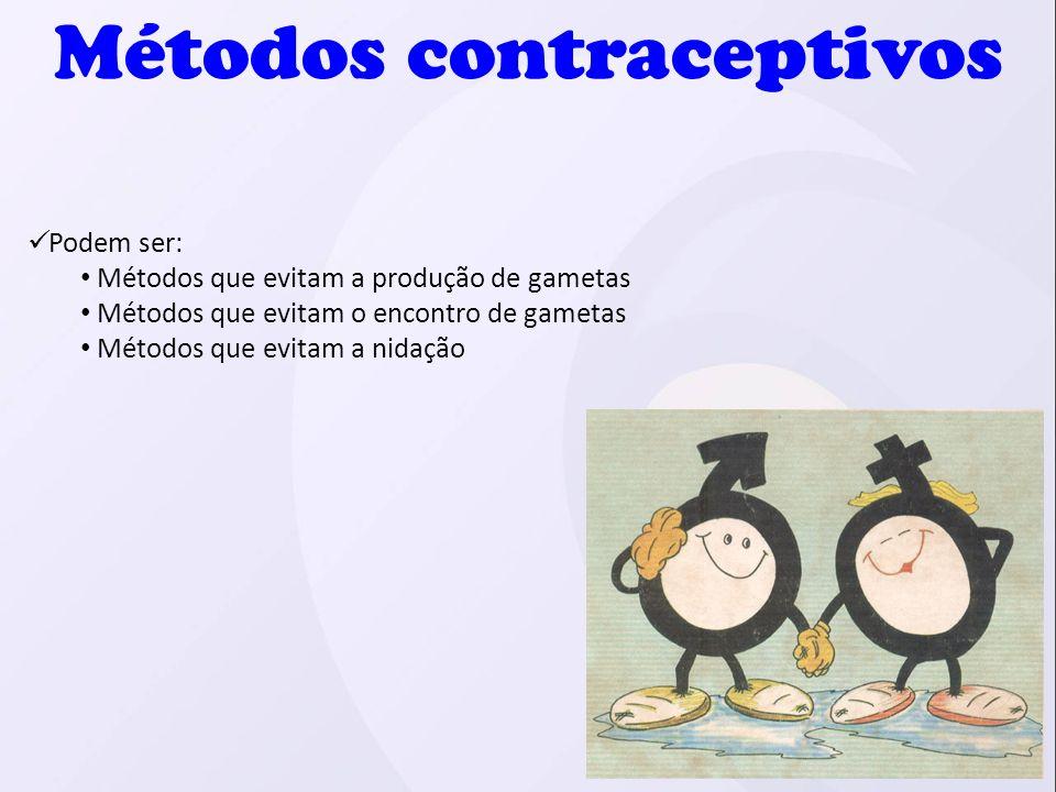 Podem ser: Métodos que evitam a produção de gametas Métodos que evitam o encontro de gametas Métodos que evitam a nidação Métodos contraceptivos