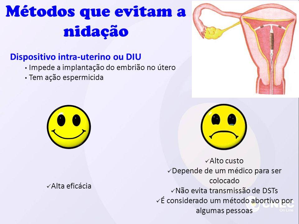 Dispositivo intra-uterino ou DIU Impede a implantação do embrião no útero Tem ação espermicida Alta eficácia Alto custo Depende de um médico para ser