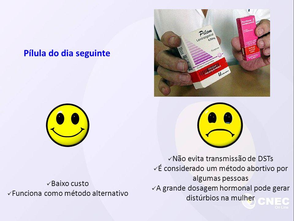 Pílula do dia seguinte Baixo custo Funciona como método alternativo Não evita transmissão de DSTs É considerado um método abortivo por algumas pessoas