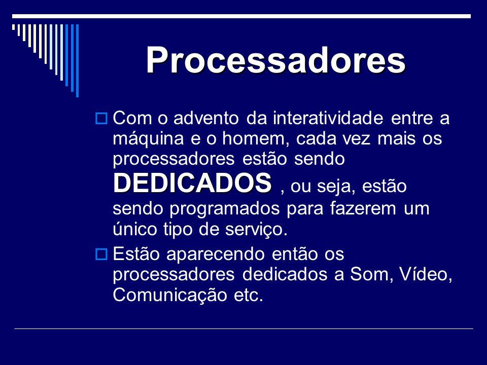 Processadores DEDICADOS Com o advento da interatividade entre a máquina e o homem, cada vez mais os processadores estão sendo DEDICADOS, ou seja, estão sendo programados para fazerem um único tipo de serviço.