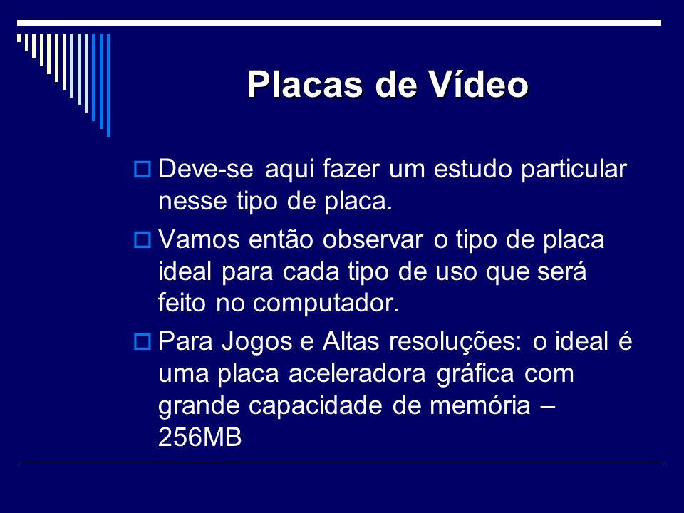 Placas de Vídeo Deve-se aqui fazer um estudo particular nesse tipo de placa.