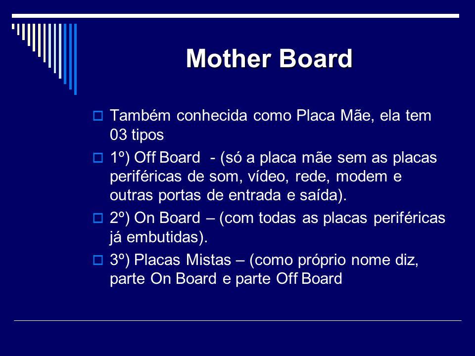 Mother Board Também conhecida como Placa Mãe, ela tem 03 tipos 1º) Off Board - (só a placa mãe sem as placas periféricas de som, vídeo, rede, modem e outras portas de entrada e saída).