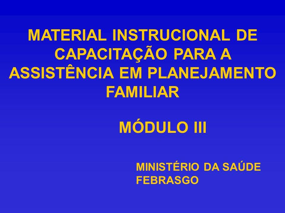 MATERIAL INSTRUCIONAL DE CAPACITAÇÃO PARA A ASSISTÊNCIA EM PLANEJAMENTO FAMILIAR MINISTÉRIO DA SAÚDE FEBRASGO MÓDULO III