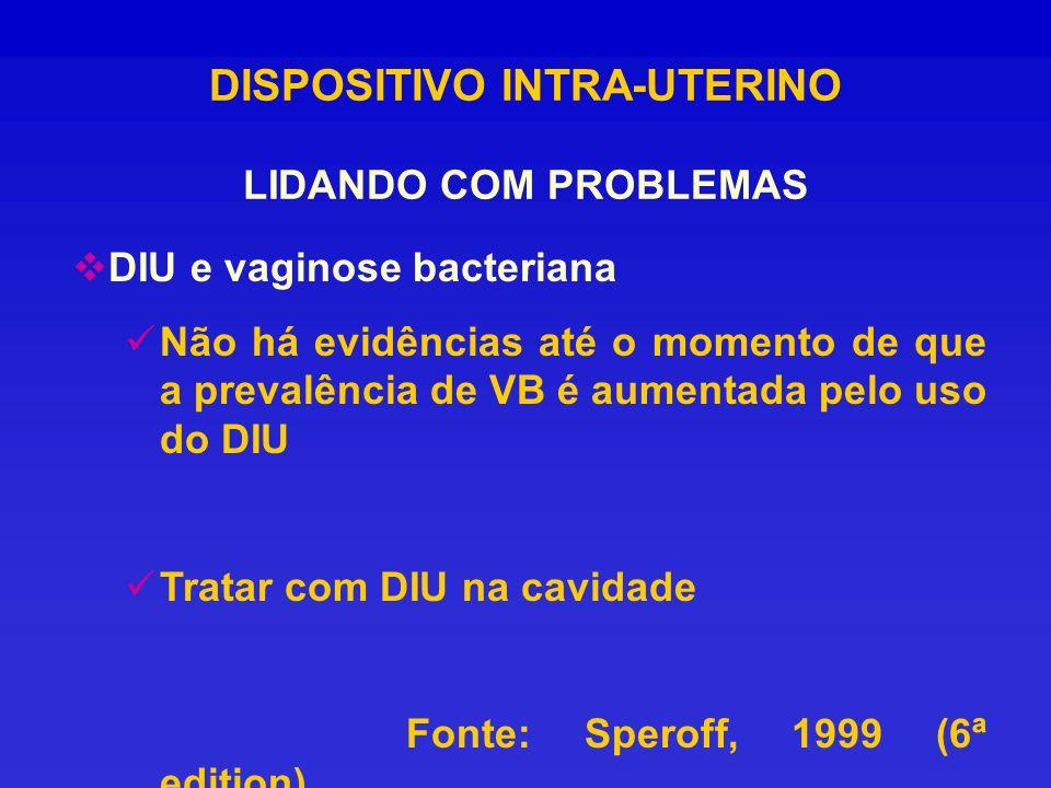 DISPOSITIVO INTRA-UTERINO LIDANDO COM PROBLEMAS DIU e vaginose bacteriana Não há evidências até o momento de que a prevalência de VB é aumentada pelo