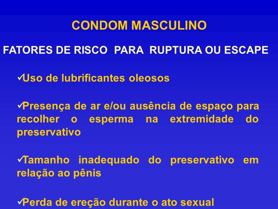CONDOM MASCULINO Uso de lubrificantes oleosos Presença de ar e/ou ausência de espaço para recolher o esperma na extremidade do preservativo Tamanho in
