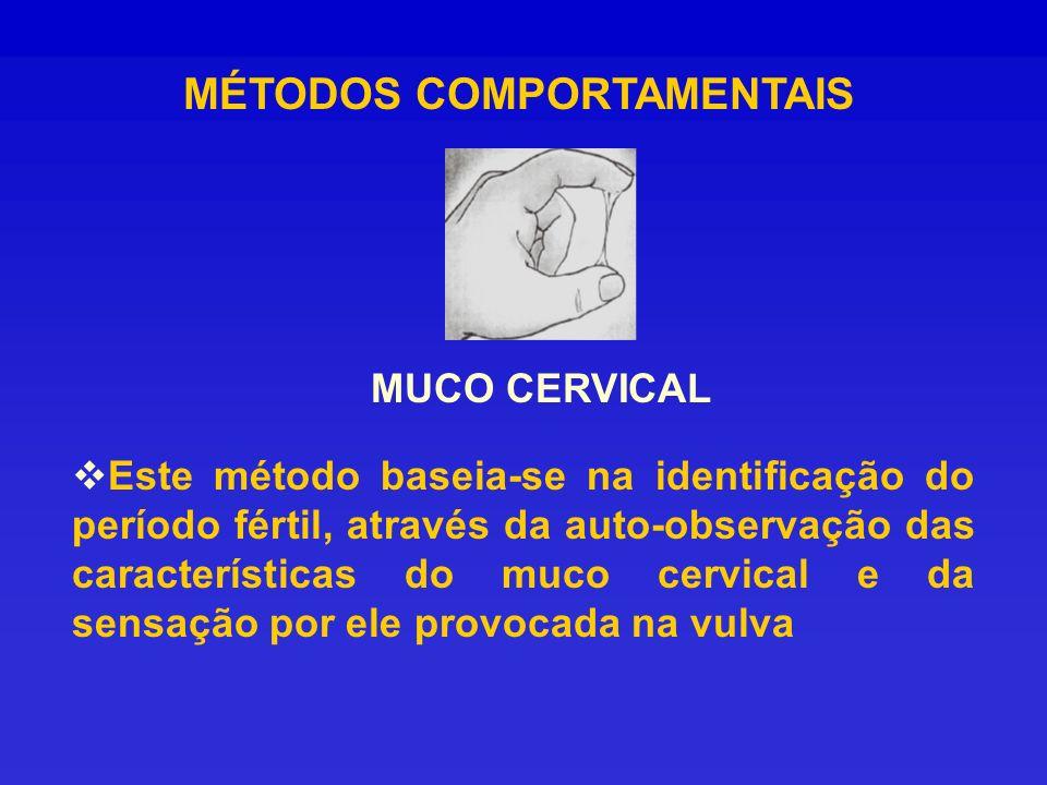 MÉTODOS COMPORTAMENTAIS MUCO CERVICAL Este método baseia-se na identificação do período fértil, através da auto-observação das características do muco