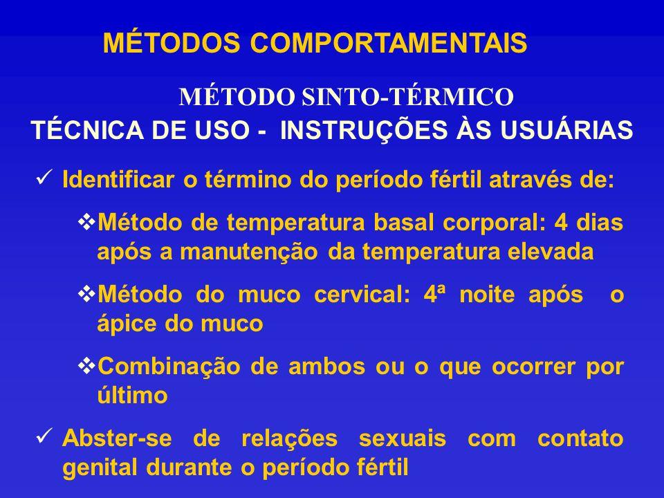 MÉTODOS COMPORTAMENTAIS Identificar o término do período fértil através de: Método de temperatura basal corporal: 4 dias após a manutenção da temperat