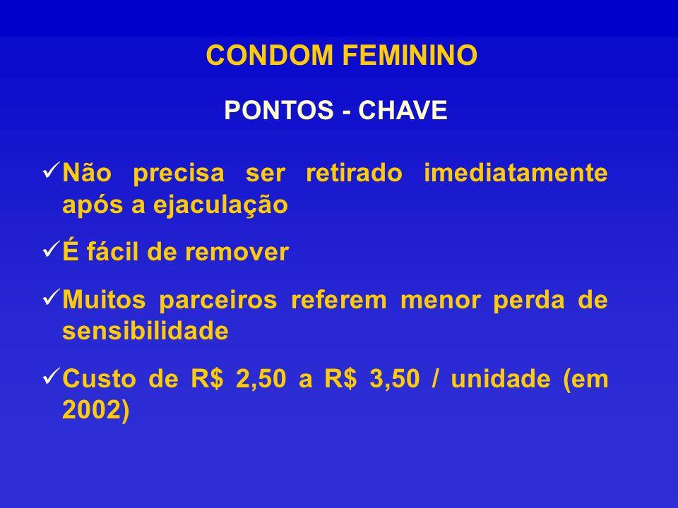 CONDOM FEMININO PONTOS - CHAVE Não precisa ser retirado imediatamente após a ejaculação É fácil de remover Muitos parceiros referem menor perda de sen