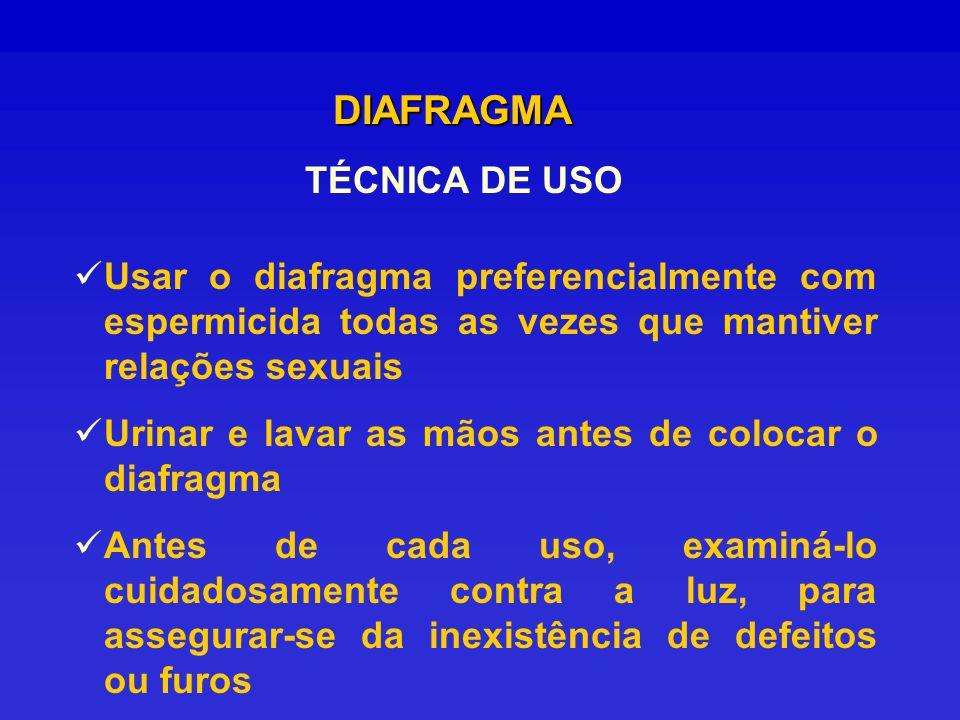 DIAFRAGMA TÉCNICA DE USO Usar o diafragma preferencialmente com espermicida todas as vezes que mantiver relações sexuais Urinar e lavar as mãos antes