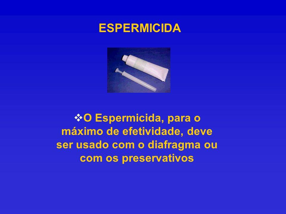ESPERMICIDA O Espermicida, para o máximo de efetividade, deve ser usado com o diafragma ou com os preservativos