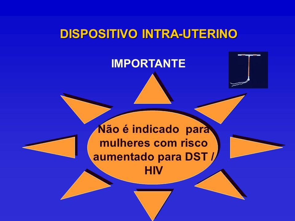 DISPOSITIVO INTRA-UTERINO IMPORTANTE Não é indicado para mulheres com risco aumentado para DST / HIV