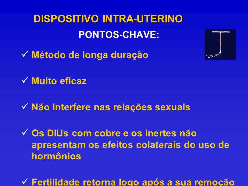 PONTOS-CHAVE: DISPOSITIVO INTRA-UTERINO Método de longa duração Muito eficaz Não interfere nas relações sexuais Os DIUs com cobre e os inertes não apr