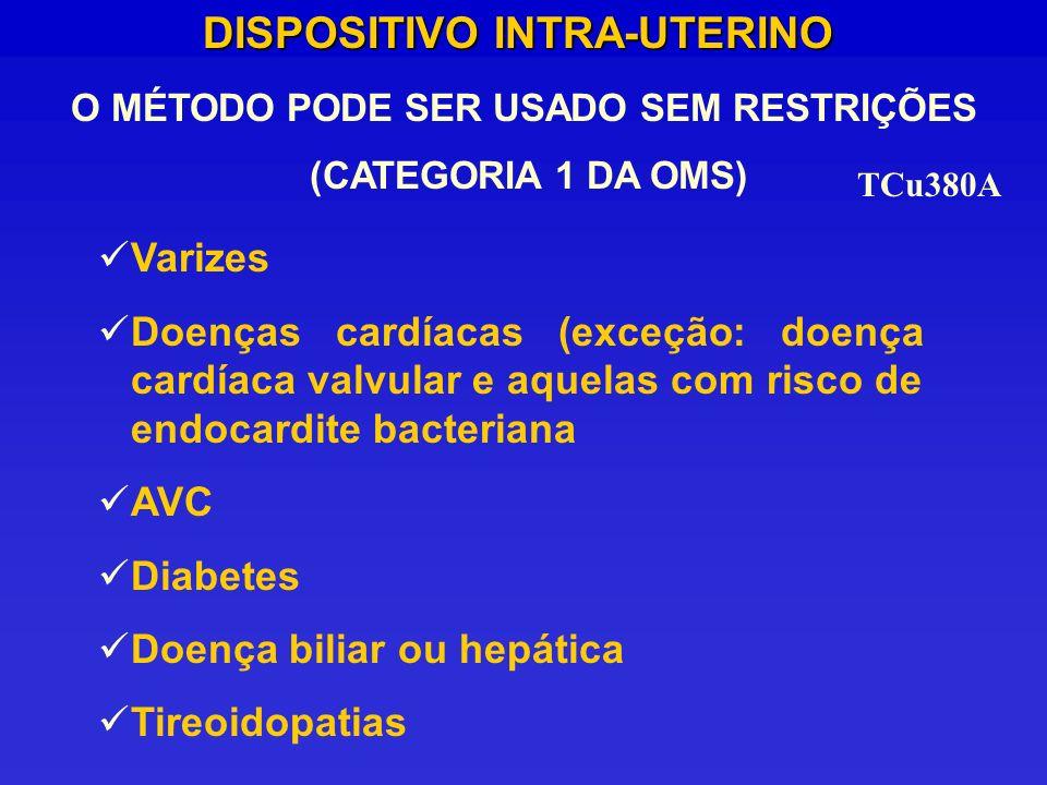 DISPOSITIVO INTRA-UTERINO O MÉTODO PODE SER USADO SEM RESTRIÇÕES (CATEGORIA 1 DA OMS) TCu380A Varizes Doenças cardíacas (exceção: doença cardíaca valv