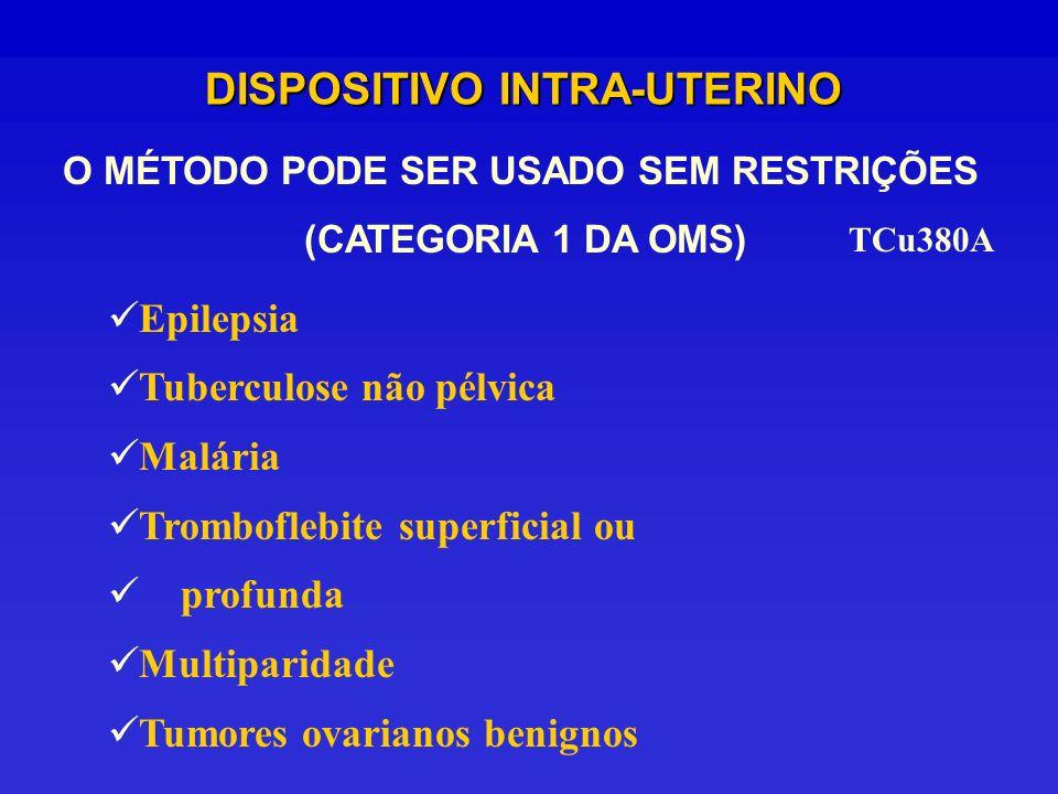 DISPOSITIVO INTRA-UTERINO O MÉTODO PODE SER USADO SEM RESTRIÇÕES (CATEGORIA 1 DA OMS) TCu380A Epilepsia Tuberculose não pélvica Malária Tromboflebite