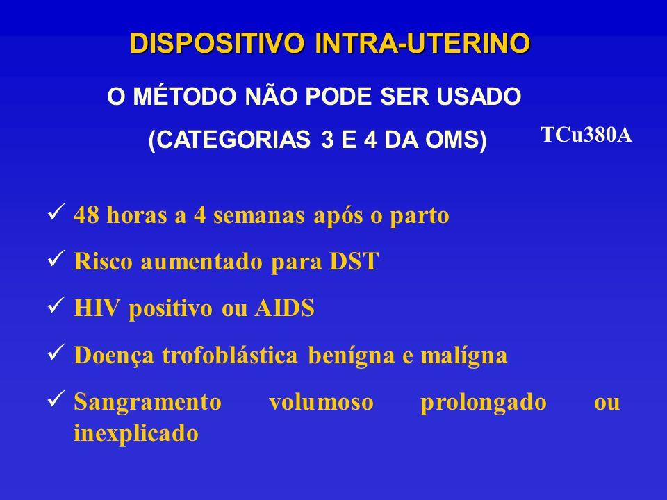 TCu380A DISPOSITIVO INTRA-UTERINO O MÉTODO NÃO PODE SER USADO (CATEGORIAS 3 E 4 DA OMS) 48 horas a 4 semanas após o parto Risco aumentado para DST HIV