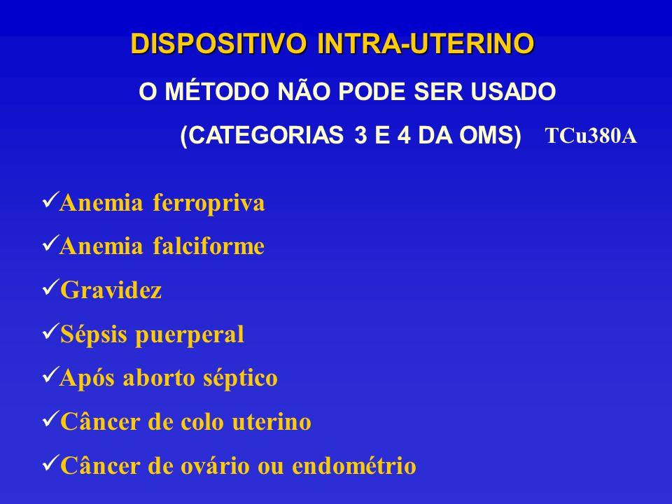 DISPOSITIVO INTRA-UTERINO Anemia ferropriva Anemia falciforme Gravidez Sépsis puerperal Após aborto séptico Câncer de colo uterino Câncer de ovário ou