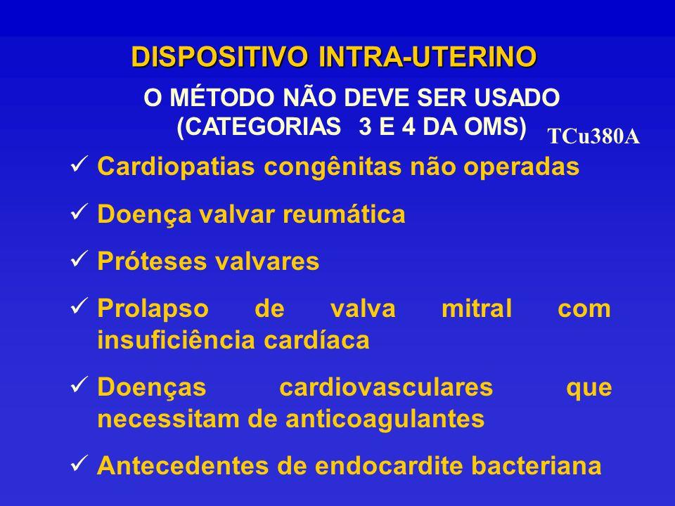DISPOSITIVO INTRA-UTERINO O MÉTODO NÃO DEVE SER USADO (CATEGORIAS 3 E 4 DA OMS) Cardiopatias congênitas não operadas Doença valvar reumática Próteses