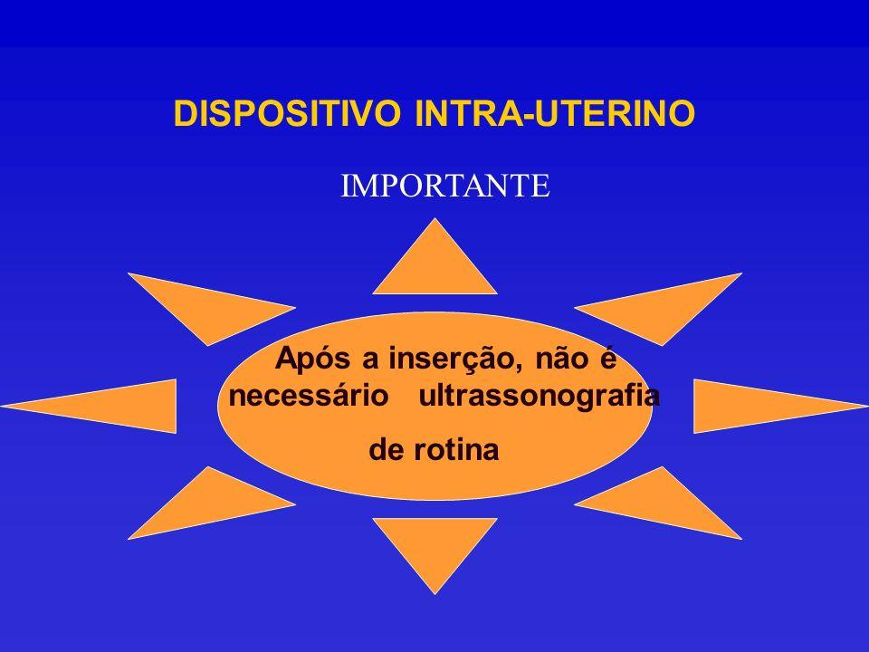 Após a inserção, não é necessário ultrassonografia de rotina IMPORTANTE