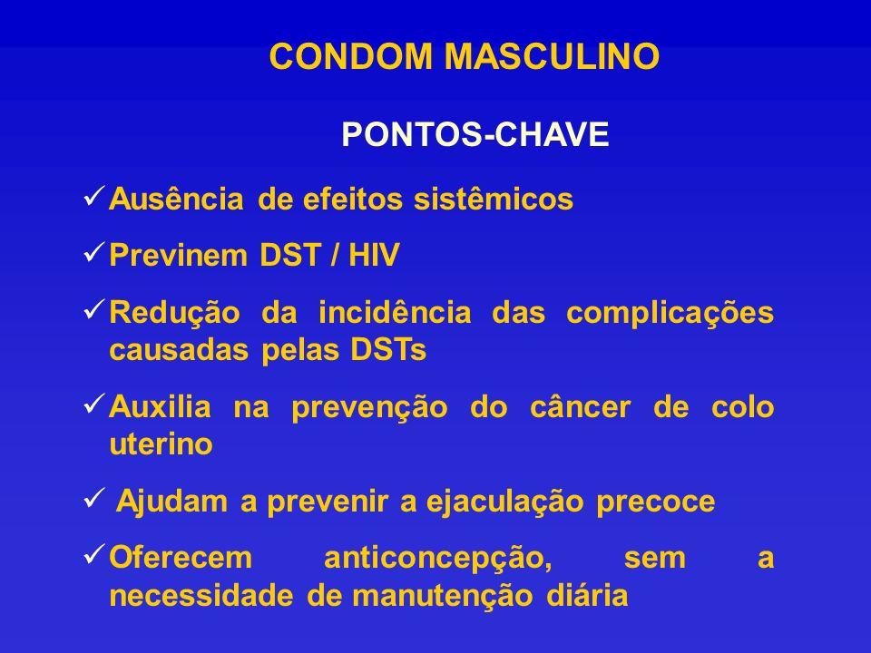 CONDOM MASCULINO PONTOS-CHAVE Ausência de efeitos sistêmicos Previnem DST / HIV Redução da incidência das complicações causadas pelas DSTs Auxilia na