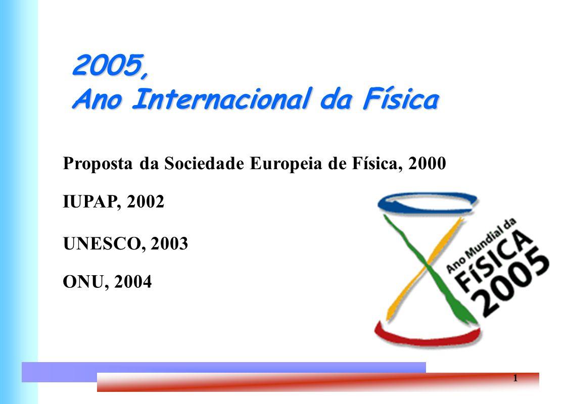 1 2005, Ano Internacional da Física Proposta da Sociedade Europeia de Física, 2000 UNESCO, 2003 ONU, 2004 IUPAP, 2002