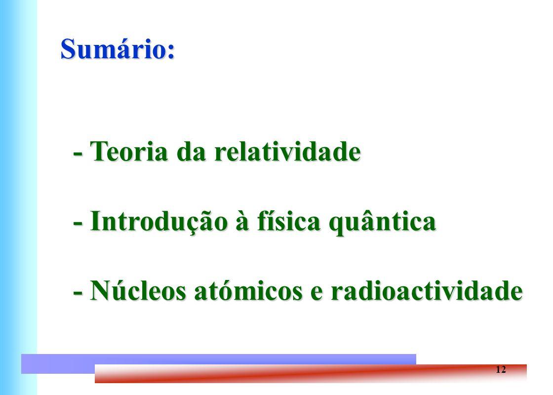 12 Sumário: - Teoria da relatividade - Introdução à física quântica - Núcleos atómicos e radioactividade