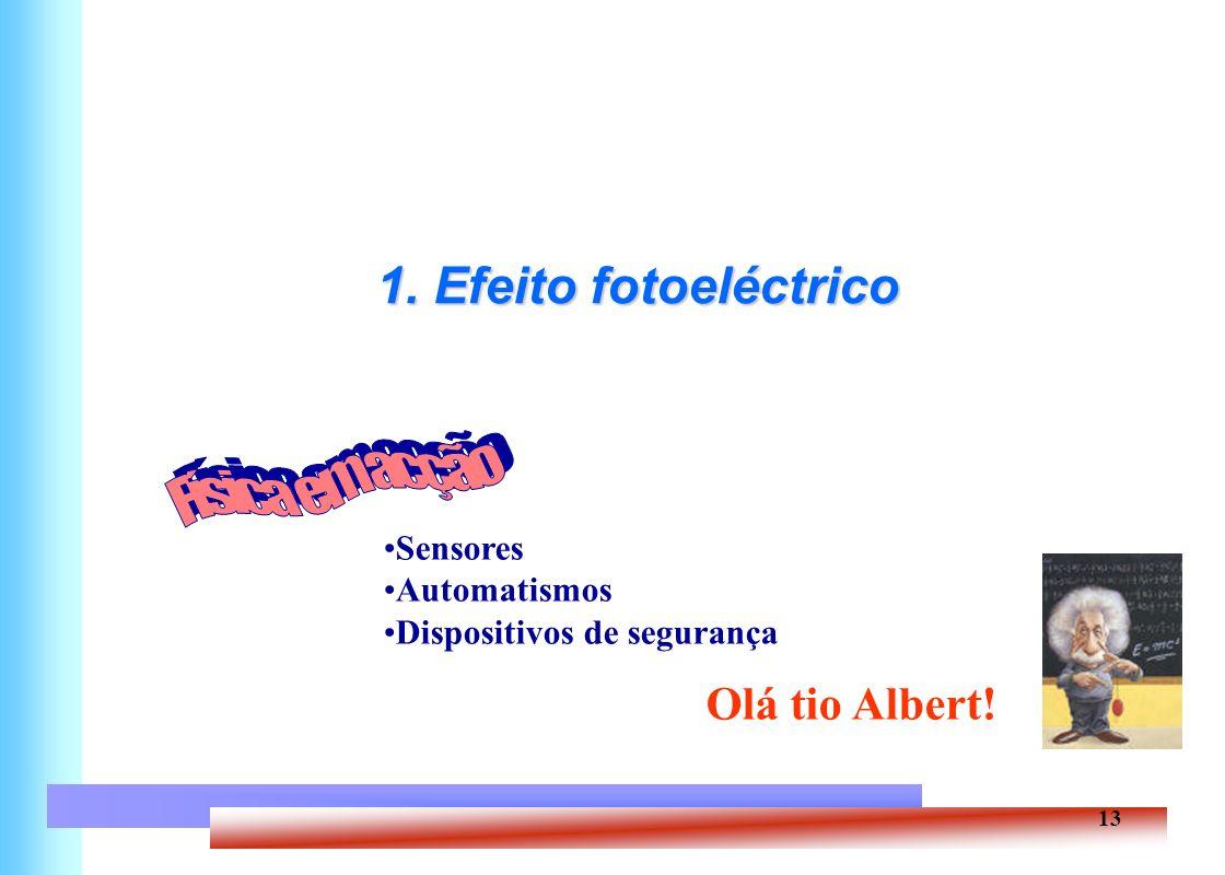 13 1. Efeito fotoeléctrico Sensores Automatismos Dispositivos de segurança Olá tio Albert!