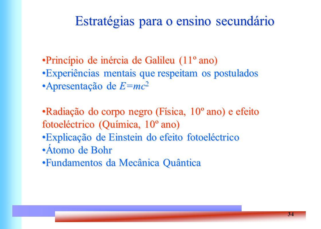 34 Estratégias para o ensino secundário Princípio de inércia de Galileu (11º ano)Princípio de inércia de Galileu (11º ano) Experiências mentais que re