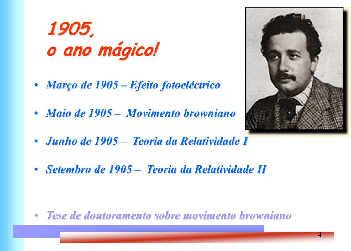 5 Einstein, Um homem no espaço e no tempo Nasceu em 1879, em Ulm, AlemanhaNasceu em 1879, em Ulm, Alemanha Frequentou o Escola Politécnica de Zurique, a partir de 1896Frequentou o Escola Politécnica de Zurique, a partir de 1896 Casou com a colega Mileva Maric em 1903; teve três filhosCasou com a colega Mileva Maric em 1903; teve três filhos Doutoramento em 1905Doutoramento em 1905 Trabalhos sobre efeito fotoeléctrico, movimento browniano eTrabalhos sobre efeito fotoeléctrico, movimento browniano e teoria da relatividade em 1905 (annus mirabilis)