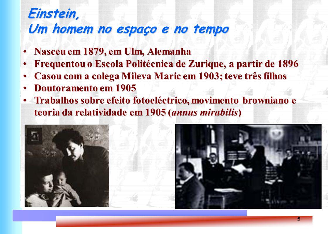 5 Einstein, Um homem no espaço e no tempo Nasceu em 1879, em Ulm, AlemanhaNasceu em 1879, em Ulm, Alemanha Frequentou o Escola Politécnica de Zurique,