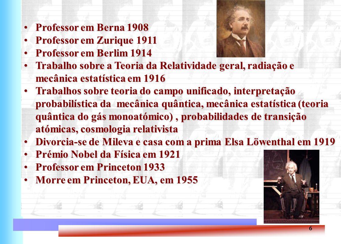 7 Einstein no nosso ensino básico e secundário Ensino secundário: efeito fotoeléctrico - Química 12º ano Ensino básico: energia nuclear
