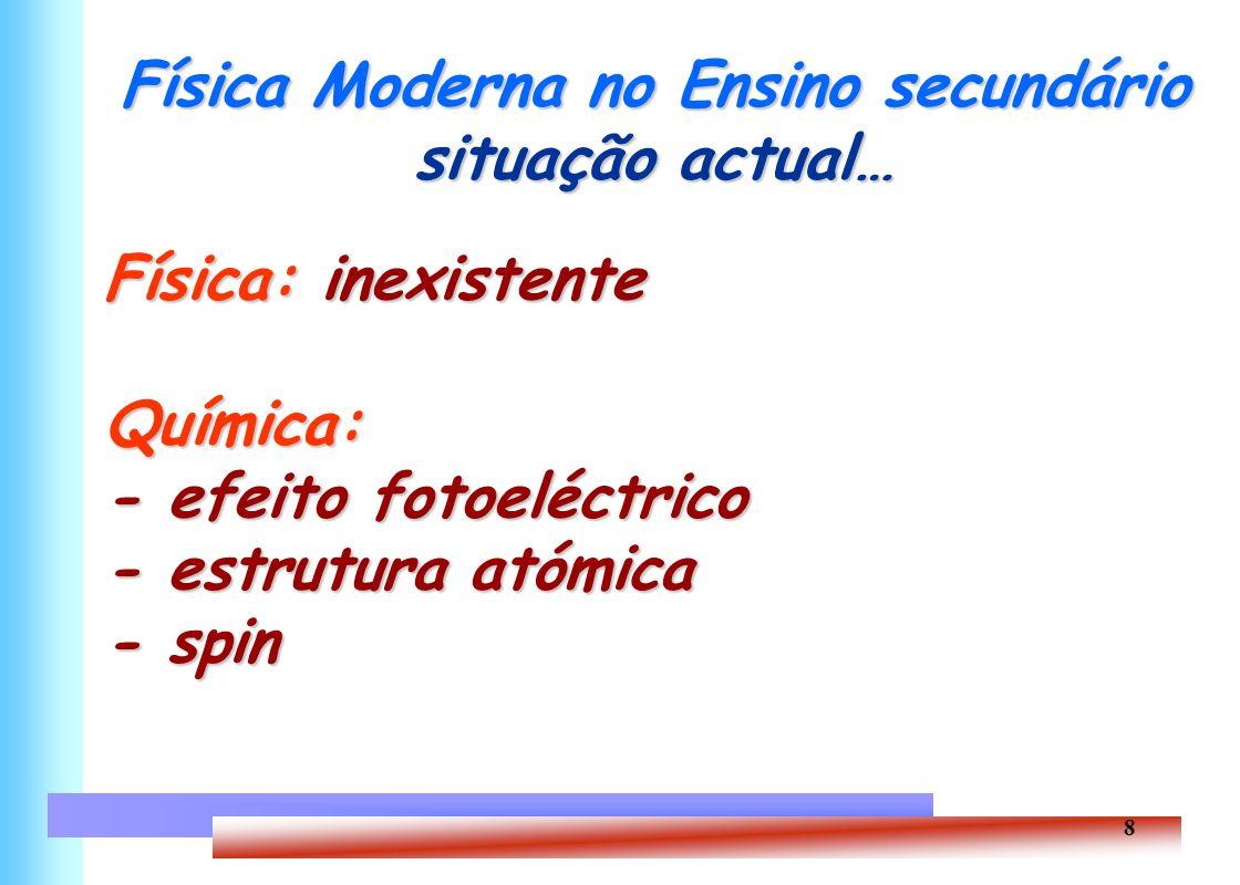 8 Física Moderna no Ensino secundário situação actual… Física: inexistente Química: - efeito fotoeléctrico - estrutura atómica - spin