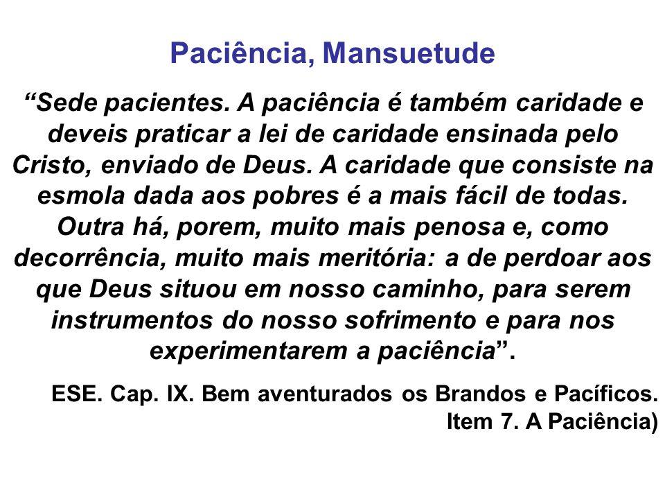 Paciência, Mansuetude Sede pacientes. A paciência é também caridade e deveis praticar a lei de caridade ensinada pelo Cristo, enviado de Deus. A carid