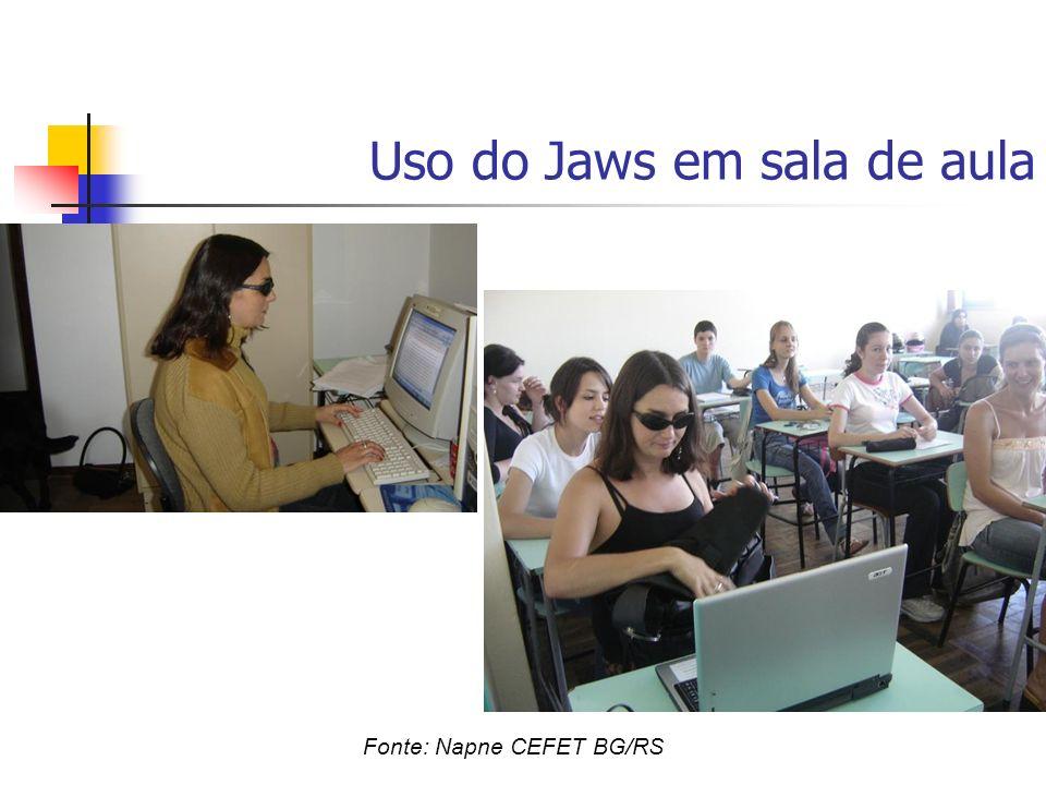 Uso do Jaws em sala de aula Fonte: Napne CEFET BG/RS