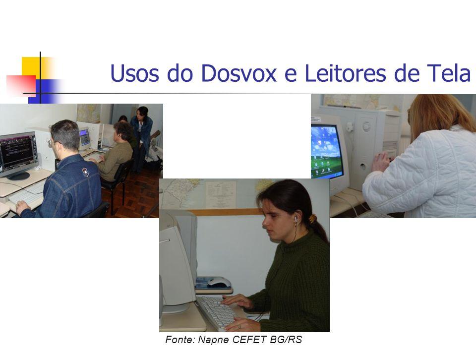 Usos do Dosvox e Leitores de Tela Fonte: Napne CEFET BG/RS
