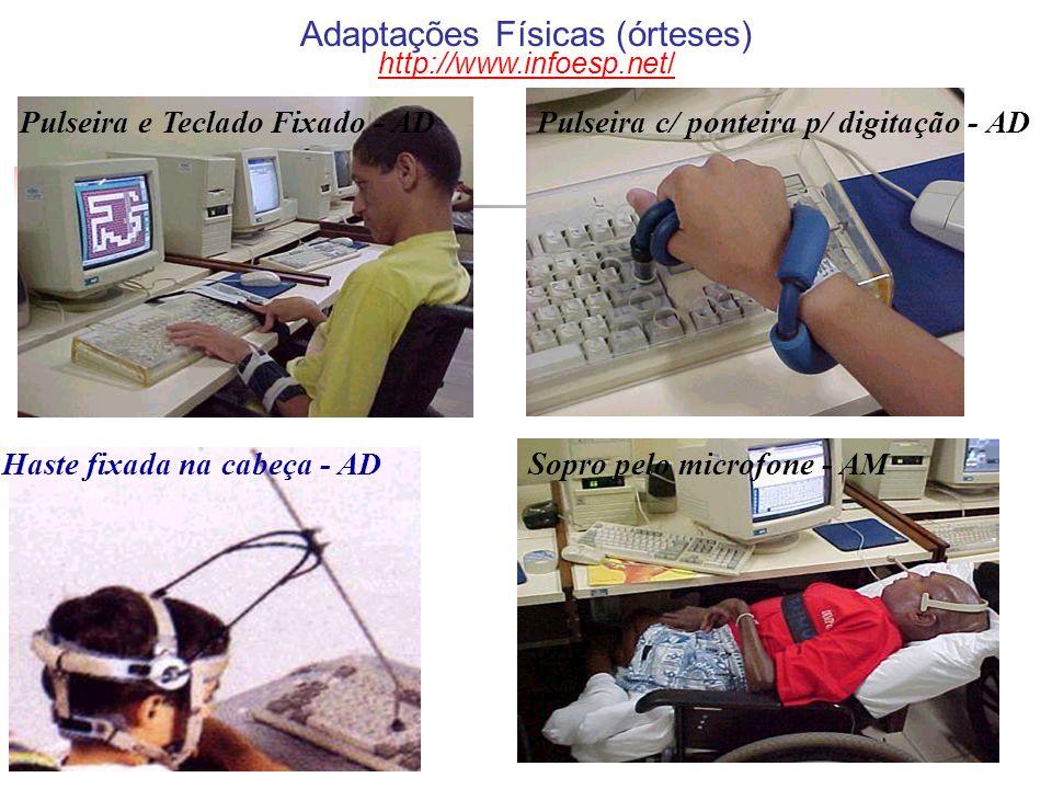 Pulseira e Teclado Fixado - ADPulseira c/ ponteira p/ digitação - AD Haste fixada na cabeça - ADSopro pelo microfone - AM Adaptações Físicas (órteses)