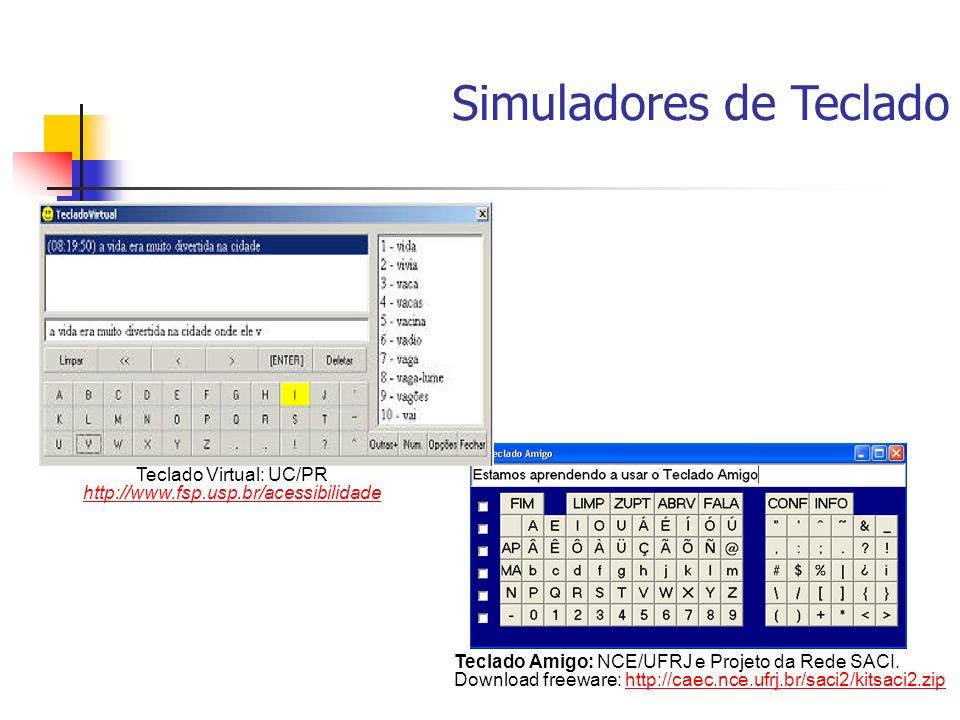Simuladores de Teclado Teclado Amigo: NCE/UFRJ e Projeto da Rede SACI. Download freeware: http://caec.nce.ufrj.br/saci2/kitsaci2.ziphttp://caec.nce.uf