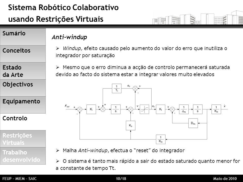 Sistema Robótico Colaborativo usando Restrições Virtuais FEUP – MIEM - SAIC 10/18 Maio de 2010 Anti-windup Windup, efeito causado pelo aumento do valo