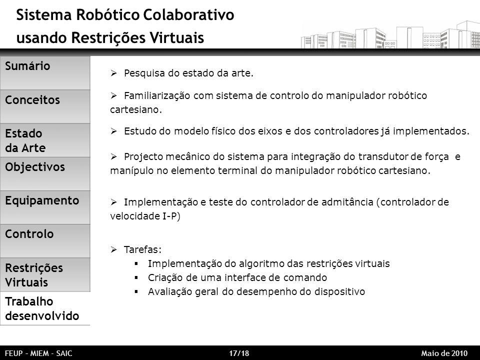 Sistema Robótico Colaborativo usando Restrições Virtuais FEUP – MIEM - SAIC 17/18 Maio de 2010 Pesquisa do estado da arte. Familiarização com sistema