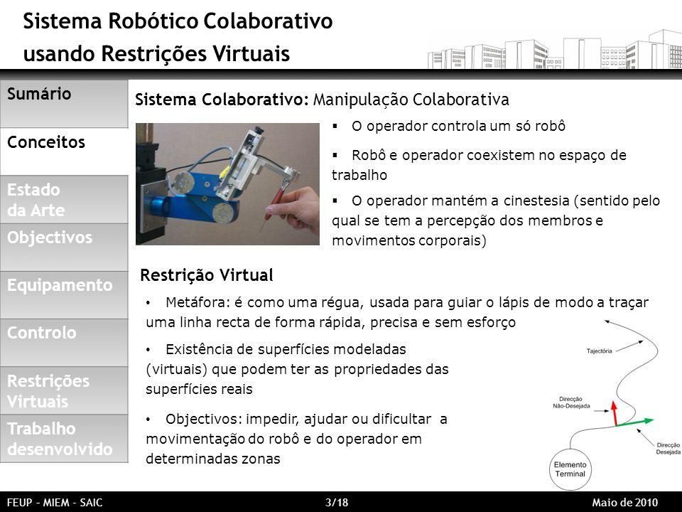 Sistema Robótico Colaborativo usando Restrições Virtuais Sumário Conceitos Estado da Arte Objectivos Equipamento Controlo Restrições Virtuais Trabalho desenvolvido Sistema Colaborativo: Manipulação Colaborativa O operador controla um só robô Robô e operador coexistem no espaço de trabalho O operador mantém a cinestesia (sentido pelo qual se tem a percepção dos membros e movimentos corporais) FEUP – MIEM - SAIC 3/18 Maio de 2010 Metáfora: é como uma régua, usada para guiar o lápis de modo a traçar uma linha recta de forma rápida, precisa e sem esforço Existência de superfícies modeladas (virtuais) que podem ter as propriedades das superfícies reais Objectivos: impedir, ajudar ou dificultar a movimentação do robô e do operador em determinadas zonas Restrição Virtual