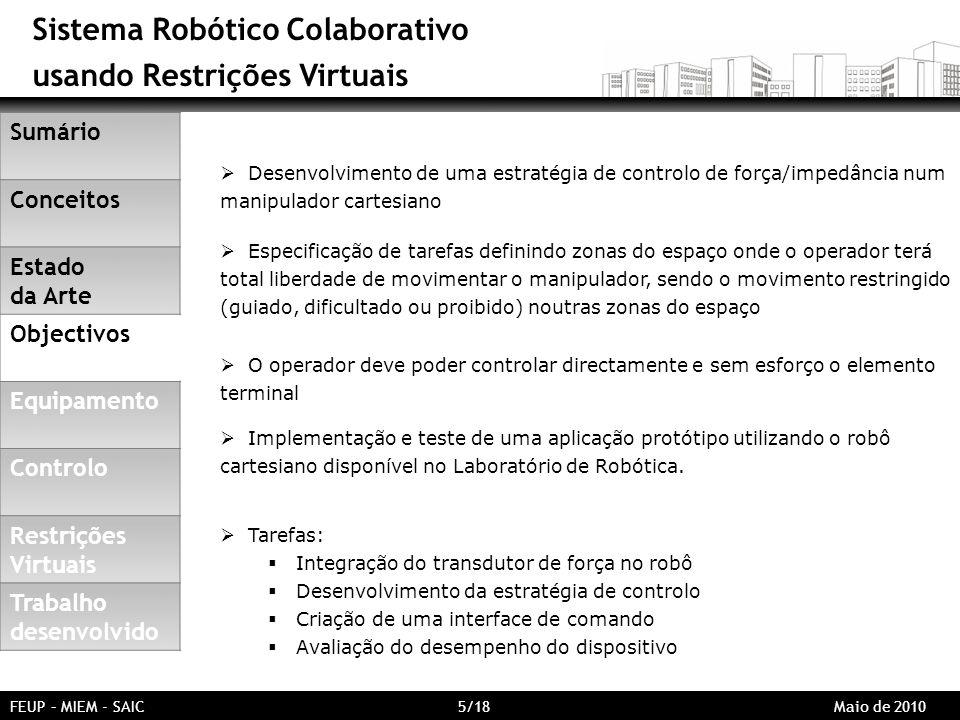 Sistema Robótico Colaborativo usando Restrições Virtuais Desenvolvimento de uma estratégia de controlo de força/impedância num manipulador cartesiano