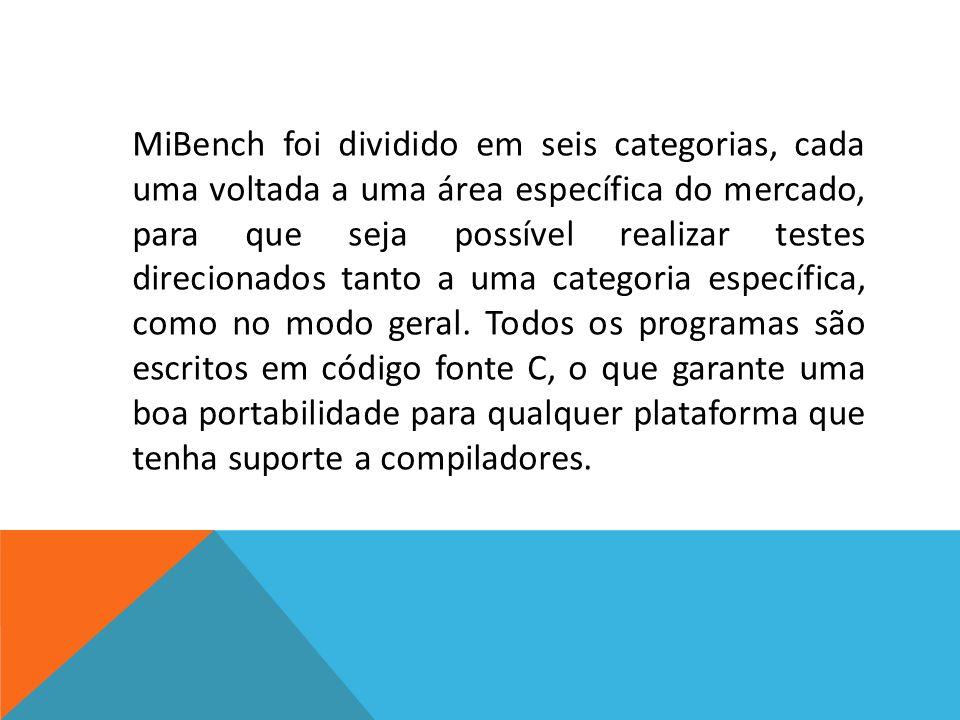 MiBench foi dividido em seis categorias, cada uma voltada a uma área específica do mercado, para que seja possível realizar testes direcionados tanto a uma categoria específica, como no modo geral.