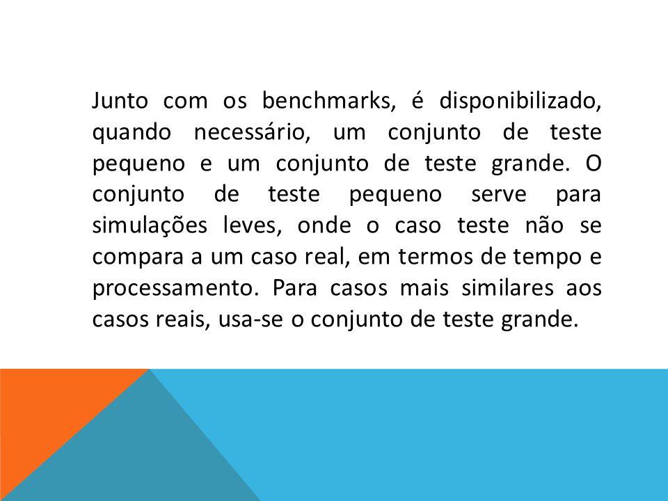 Junto com os benchmarks, é disponibilizado, quando necessário, um conjunto de teste pequeno e um conjunto de teste grande.